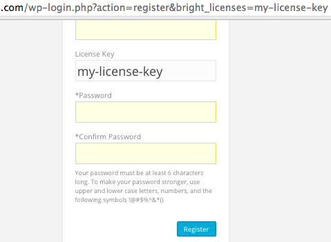 Direct linking of a license key field leads to a pre-populated license key during user registration.