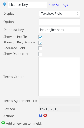 Configuration of a license key field in Registration Plus Redux